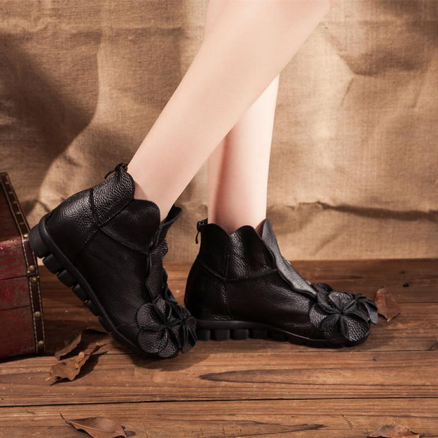 Women's Lovely Leather Flower Skid-resistant Boots