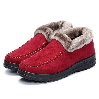 Suede Wool Lining Slip On Ankle Short Snow Boots for Women