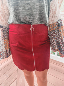 Burgundy Scallop Skirt
