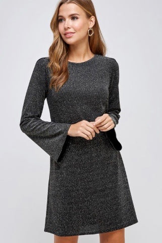 Shimmering Bell Sleeve Dress