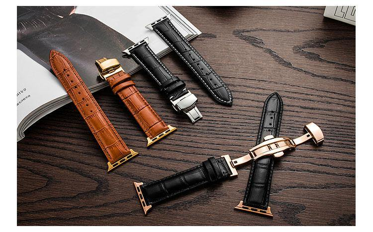 Leather Butterfly buckle strap for Apple watch series 5 4 3 2 1 44mm 40mm 42mm 38mm
