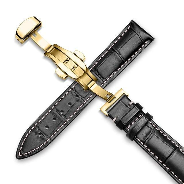 Genuine Leather Watch Band Alligator Grain 18mm 19mm 20mm 21mm 22mm 24mm Calf Strap for Tissot Seiko Black Gold