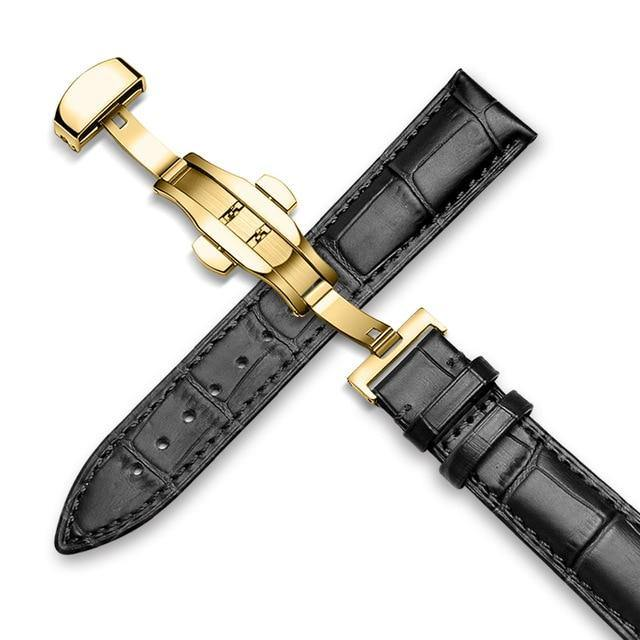 Genuine Leather Watch Band Alligator Grain 18mm 19mm 20mm 21mm 22mm 24mm Calf Strap for Tissot Seiko Black Vintage Gold