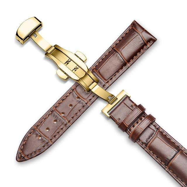 Genuine Leather Watch Band Alligator Grain 18mm 19mm 20mm 21mm 22mm 24mm Calf Strap for Tissot Seiko Brown Gold