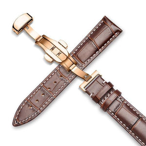 Genuine Leather Watch Band Alligator Grain 18mm 19mm 20mm 21mm 22mm 24mm Calf Strap for Tissot Seiko Brown White Gold