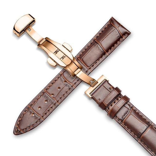 Genuine Leather Watch Band Alligator Grain 18mm 19mm 20mm 21mm 22mm 24mm Calf Strap for Tissot Seiko Brown brown Gold