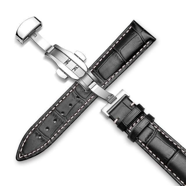 Genuine Leather Watch Band Alligator Grain 18mm 19mm 20mm 21mm 22mm 24mm Calf Strap for Tissot Seiko Brown White Silver