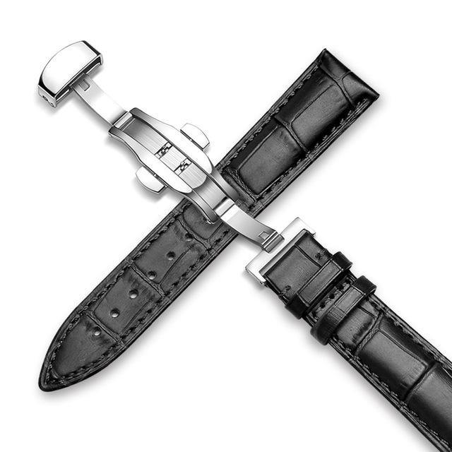 Genuine Leather Watch Band Alligator Grain 18mm 19mm 20mm 21mm 22mm 24mm Calf Strap for Tissot Seiko Black Black Silver