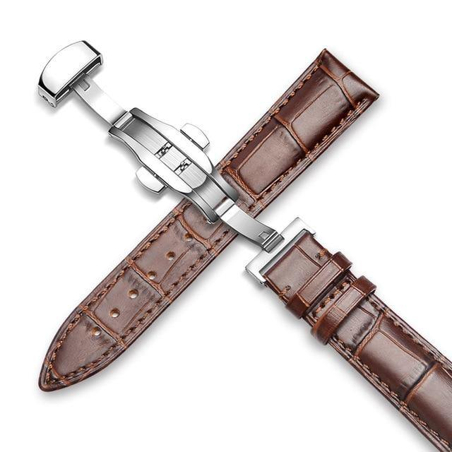Genuine Leather Watch Band Alligator Grain 18mm 19mm 20mm 21mm 22mm 24mm Calf Strap for Tissot Seiko Brown brown Silver