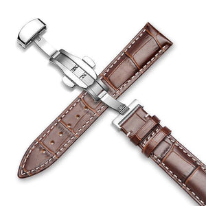 Genuine Leather Watch Band Alligator Grain 18mm 19mm 20mm 21mm 22mm 24mm Calf Strap for Tissot Seiko Brown Silver