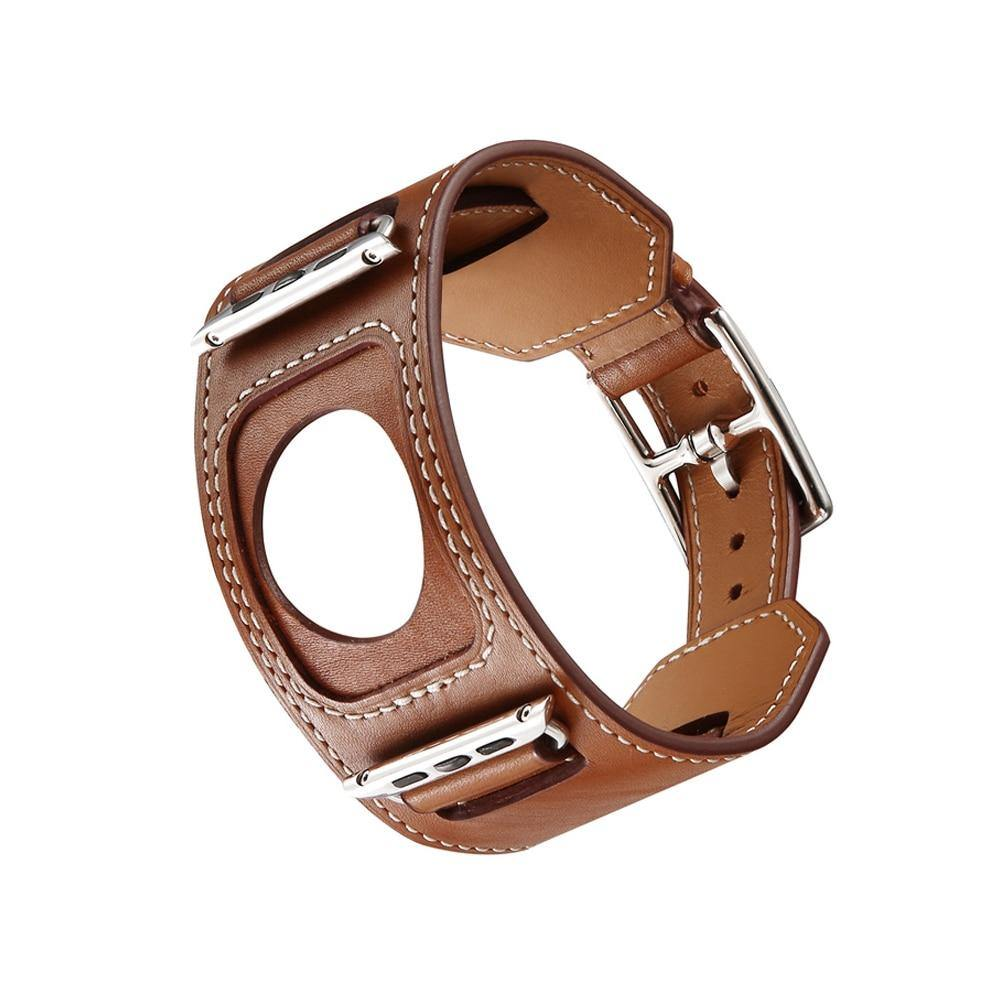 Genuine leather Cuff Bracelet strap for apple watch Hermes 4 44mm 40mm iWatch