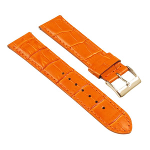 Genuine Leather Crocodile Grain Universal Band 16mm 18mm 20mm 22mm 24mm Polished Steel Buckle Watch Strap - Montret