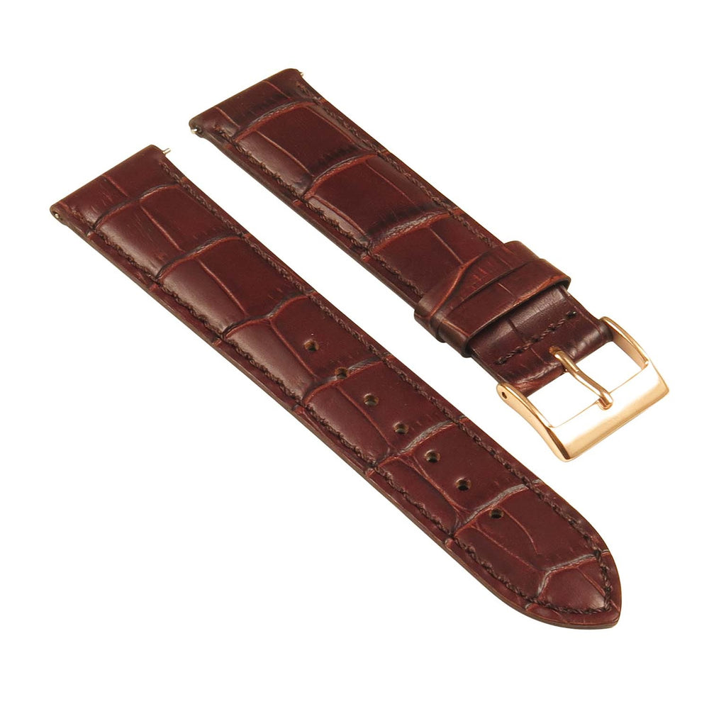 Genuine Black Leather Crocodile Grain Universal Band 16mm 18mm 20mm 22mm 24mm Polished Steel Buckle Watch Strap - Montret