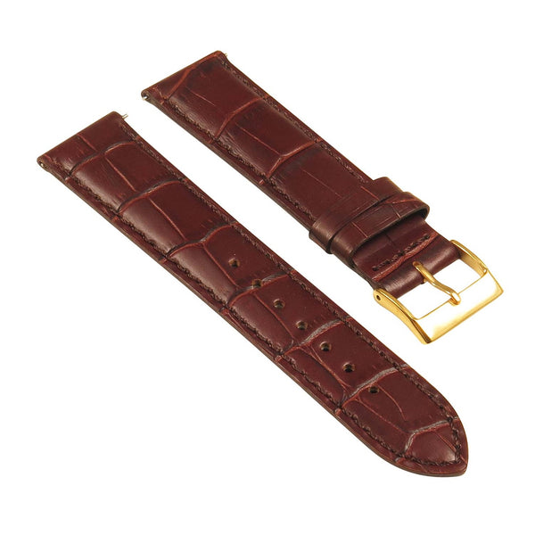 Genuine Black Leather Crocodile Grain Band 16mm 18mm 20mm 22mm 24mm Polished Buckle Watch Strap - Montret