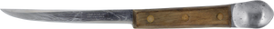 The original salmon filet knife that was created by COAST, the knife has a wooden handle and a spoon at the end of the handle.