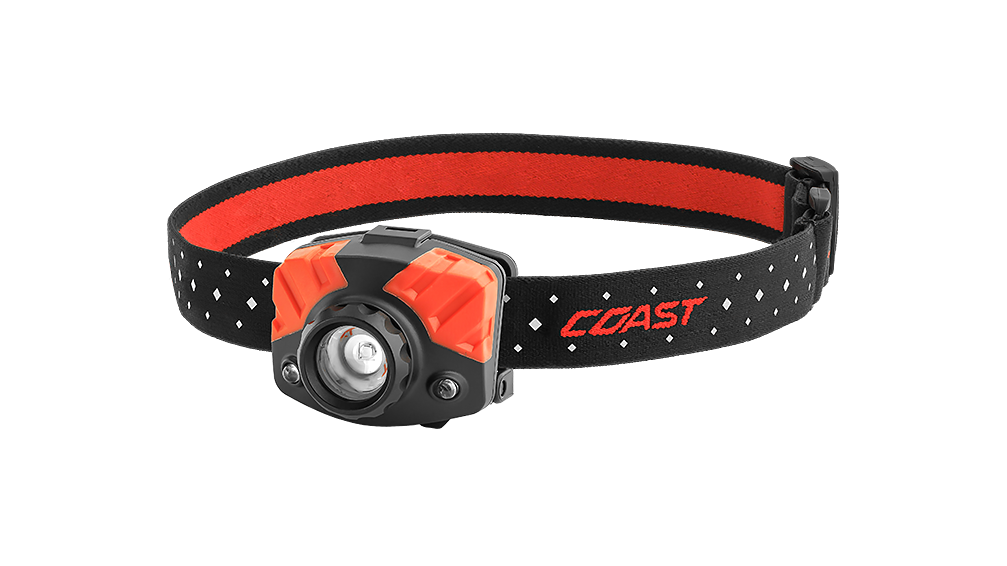 COAST Black FL75R 530 Lumen Dual Color Rechargeable LED Headlamp with Reflective Safety Strap, front photo