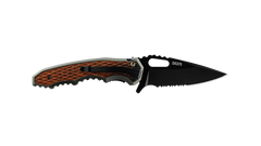 COAST DX375 3.5 Inch Stainless Steel Blade Double Locking Folding Knife with Aluminum and Wood Handle, pocket clip photo