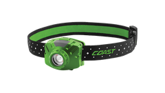 COAST Green FL60R 400 Lumen Rechargeable LED Headlamp with Reflective Safety Strap, front photo