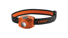 COAST Orange FL60R 400 Lumen Rechargeable LED Headlamp with Reflective Safety Strap, front photo