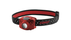 COAST Red FL60R 400 Lumen Rechargeable LED Headlamp with Reflective Safety Strap, front photo