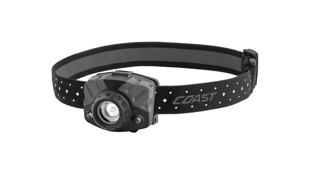 COAST FL68 400 Lumen Tri Colored LED Headlamp, Black and Gray Color, front photo