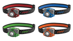 A Group Shot of the COAST FL75 435 Lumen Dual Color LED Headlamp with Reflective Safety Strap in Red, Blue, Green, and Orange, front photo