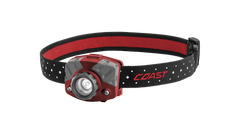 COAST Red FL75 435 Lumen Dual Color LED Headlamp with Reflective Safety Strap, front photo