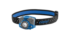 COAST Blue FL75R 530 Lumen Dual Color Rechargeable LED Headlamp with Reflective Safety Strap, front photo