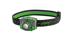 COAST Green FL75R 530 Lumen Dual Color Rechargeable LED Headlamp with Reflective Safety Strap, front photo