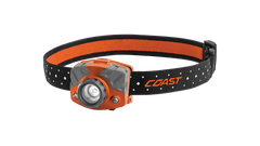 COAST Orange FL75R 530 Lumen Dual Color Rechargeable LED Headlamp with Reflective Safety Strap, front photo