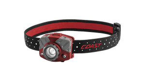 COAST Red FL75R 530 Lumen Dual Color Rechargeable LED Headlamp with Reflective Safety Strap, front photo
