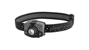 COAST Black & Gray 435 Lumen Tri-Color Focusing LED Headlamp, Angled Photo