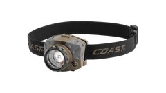 COAST FL88 615 Lumen Tri-Color Pure Beam Focusing LED Headlamp, Flat Dark Earth Color, Angled Shot