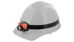 A COAST FL silicone headband with an LED headlamp attached to a white hard hat.