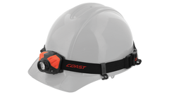 A hard hat with an LED headlamp attached to it by a set of four hard hat clips.