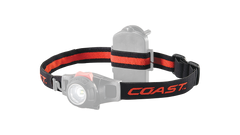 A COAST LED Headlamp with the headband of the headlamp highlighted, angled photo.