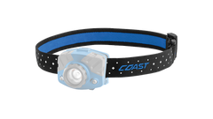 A COAST LED Headlamp with the blue headband of the headlamp highlighted, angled photo.