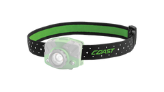 A COAST LED Headlamp with the green headband of the headlamp highlighted, angled photo.