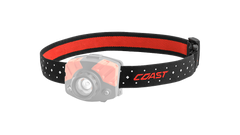 A COAST LED Headlamp with the black headband of the headlamp highlighted, angled photo.