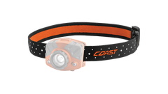 A COAST LED Headlamp with the orange headband of the headlamp highlighted, angled photo.
