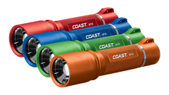 A Group Shot of the COAST HP7R 300 Lumen 6.125 Inch Rechargeable LED Flashlight in Red, Blue, Green, and Orange, group photo
