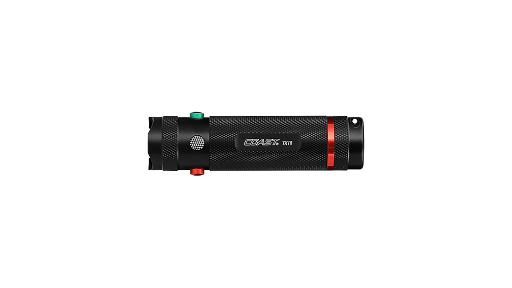 COAST TX10 80 Lumen 4 Inch Quad Color LED Flashlight, side photo