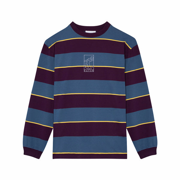 MW G Fit Striped L.S. / Steel Blue