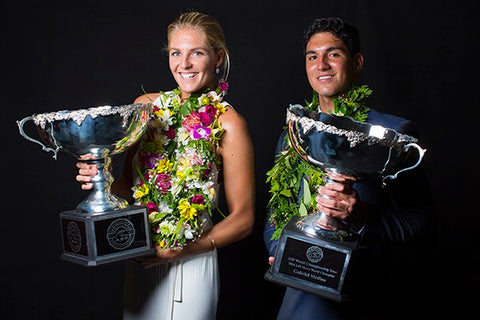 2014 ASP World Champions Stephanie Gilmore and Gabriel Medina honored at the World Surfing Awards on the Gold Coast of Australia on Wednesday February 25, 2015.