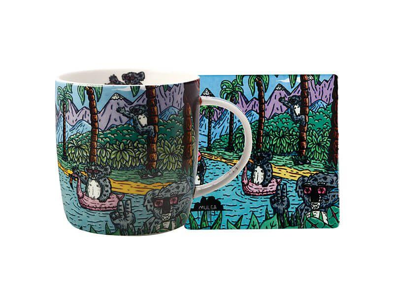 Maxwell Williams Royal Childrens Hospital UooUoo Mug 370ml & Coaster Mulga the Artist Set