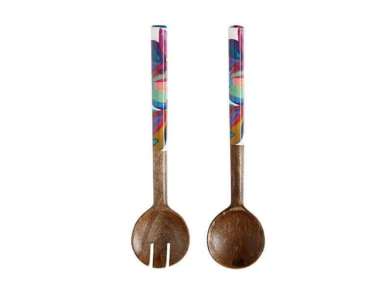 Maxwell Williams Samba Mango Wood & Enamel Finish Salad Servers 31cm