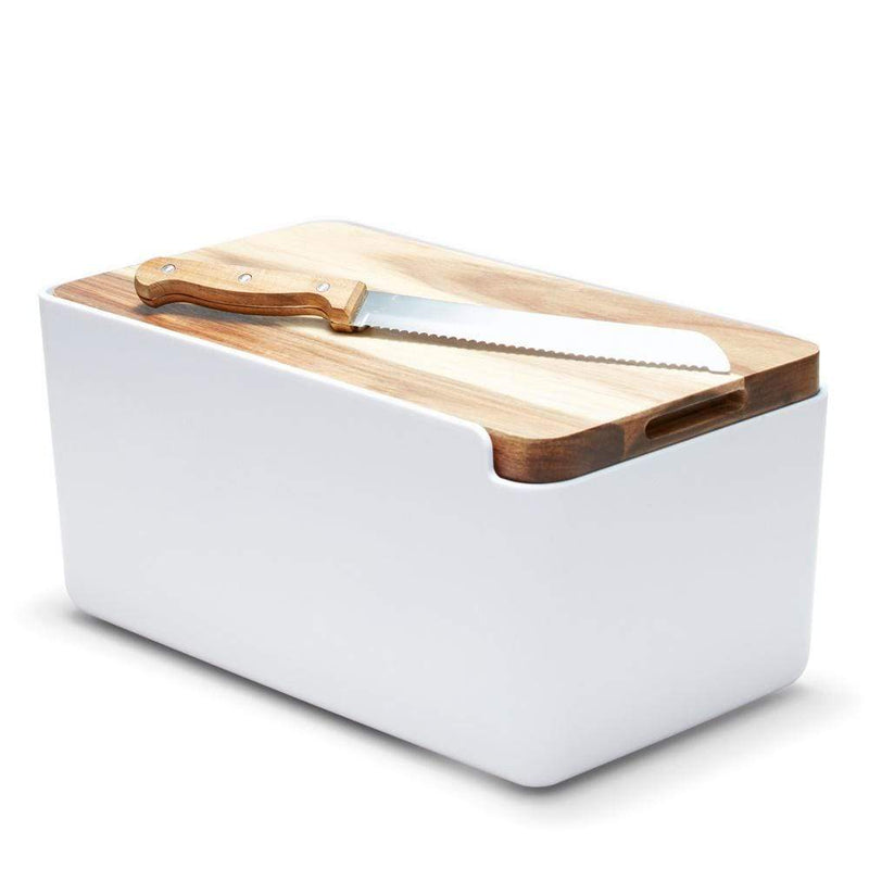 S&P Hudson Bread Bin with Wooden Cutting Board White