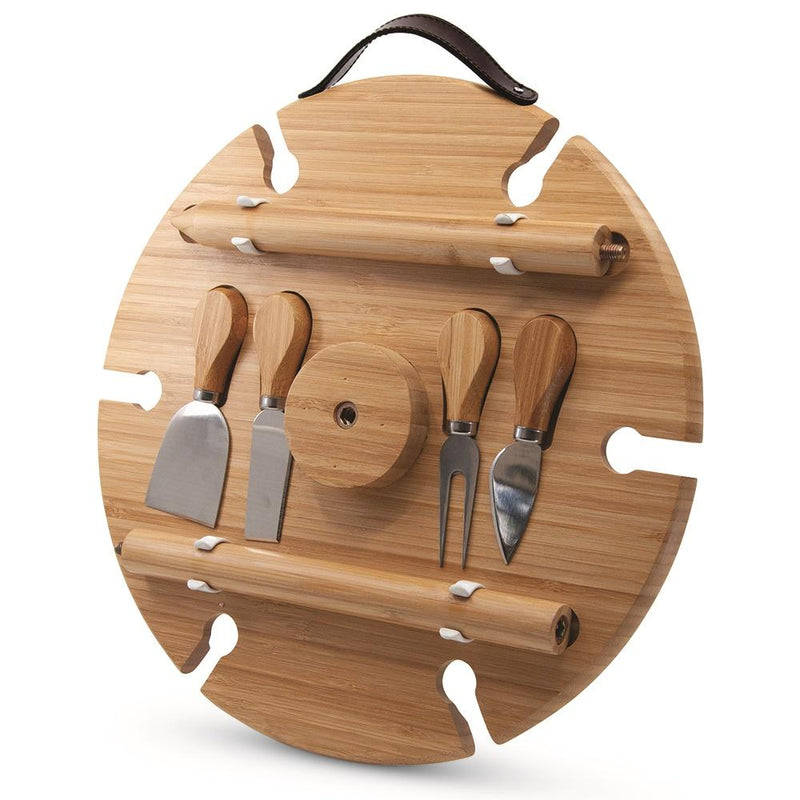 S&P Picnic Circular Wine Tray & Cheese Knives 33.5cm