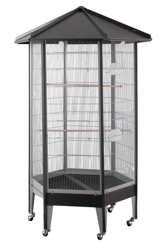 "61818bk (37"" Hexagon Aviary. Black)"