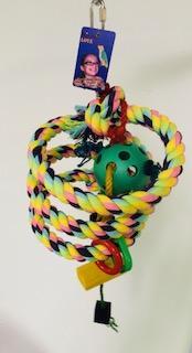 PB12127 (Bird Toy, Boing Rope w/ Plastic Rings + 6.2cm Dia Plastic Ball on Centra...